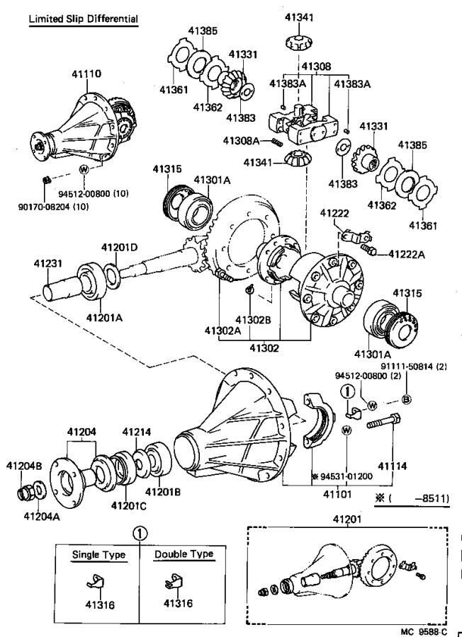 Diagram REAR AXLE HOUSING & DIFFERENTIAL for your 1985 Toyota Corolla CP GTS 1.6L MT